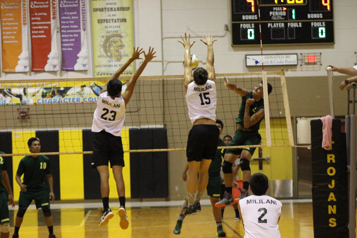"(Photo courtesy of Sarah Liva) Frederick ""Isaac"" Liva (12) competes with the boys varsity volleyball team against Leilehua High School, taking the win in two straight sets."