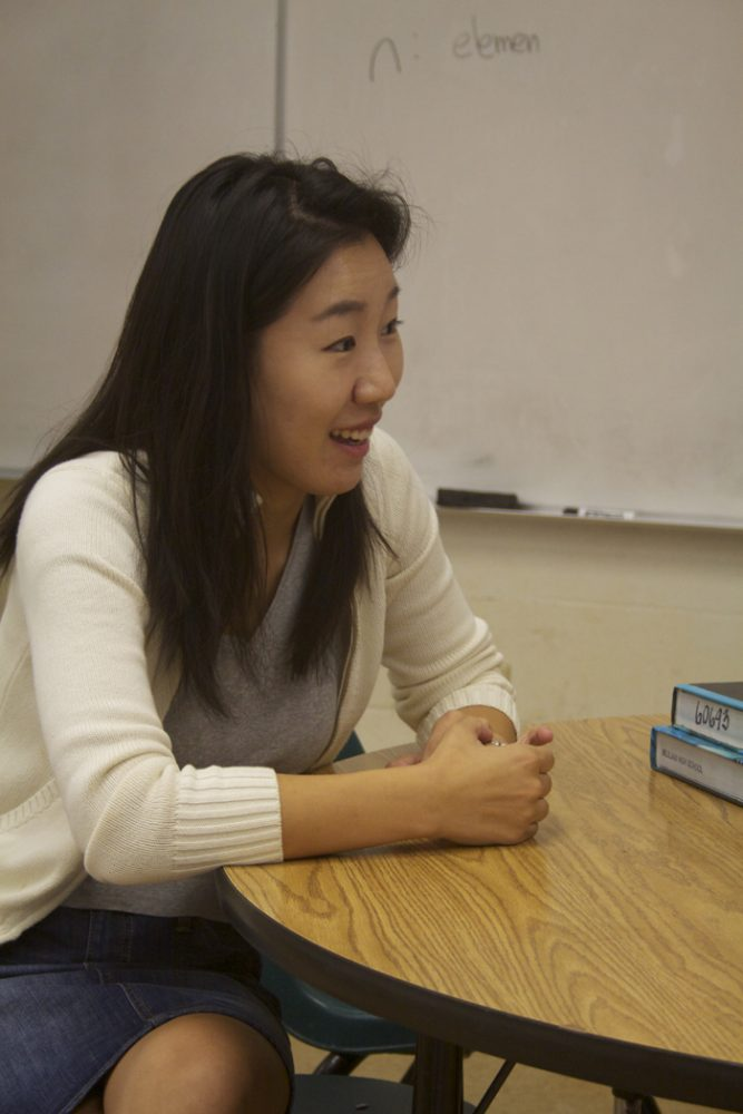 (Timothy Won | Trojan Times) Park has only been here teaching for a few weeks as she replaced math teacher Nathan Miyano, but is already adjusting well to the Trojan Life.