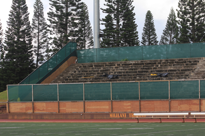 (Anika Ramos | Trojan Times) Currently, MHS is closing off the old bleachers to make way for new and improved bleachers, which will be painted in the school colors and will be made out of polyethylene so they won't have to be repainted every year.