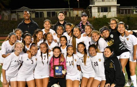 (Photo courtesy of Karlin Wurlitzer (11)) Karlin Wurlitzer (11) scored the goal against Pearl City that won the OIA championship game, making the team OIA champions for the year.