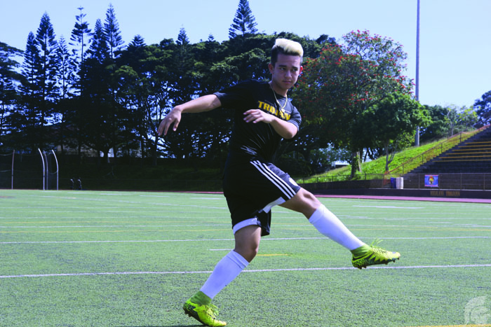 (Katie Hashimoto | Trojan Times) Jamin Fonseca (12), has dedicated over a decade to working on the foundation for his career in soccer. While he may not have any particular idol, he draws inspirations from his teammates.