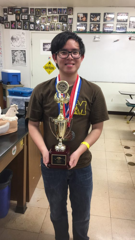 (Photo courtesy of Zachary Higa (12)) Team captain Zachary Higa (12) lead and supported the MHS team to earn third place in the Science Olympiad competition on March 4.