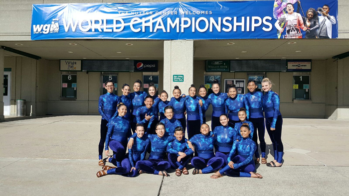 (Photo courtesy of Adrian Pulido (11)) Winter Guard started their season in December to practice for the dance, flag and rifle routines that they performed at the competition.